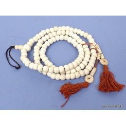 Mala tibétain 108 perles en os de buffle avec compteurs AA125