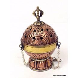 Encensoir bouddhiste Boule cuivre et laiton 6150