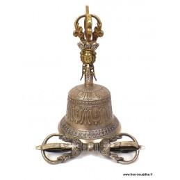 Cloche et dorjé tibétain en bronze 22 cm DOVAJ22