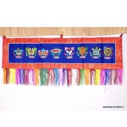 Tenture tibétaine bouddhiste 8 signes auspicieux bleue TSA4