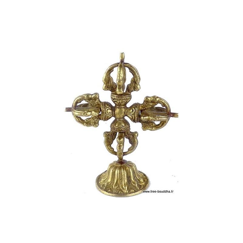 Double dorjé vajra bouddhiste sur socle Objets rituels bouddhistes ref12.3
