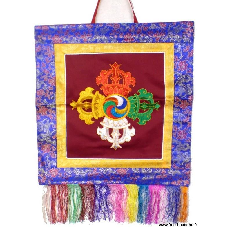 Tenture tibétaine double dorjé bordeau BRO4
