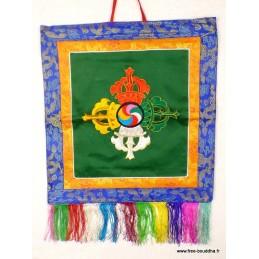 Tenture tibétaine double dorjé verte BRO5