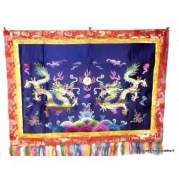 Tenture murale Dragons en soie épaisse brodée TENDRA1
