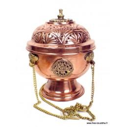 Encensoir tibétain sphérique en cuivre et laiton REF 4059