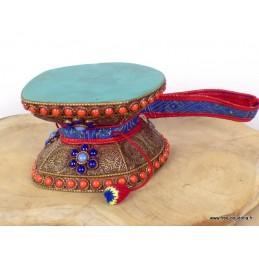 Damaru tibétain 12 cm décoré de pierres Objets rituels bouddhistes DAMA12