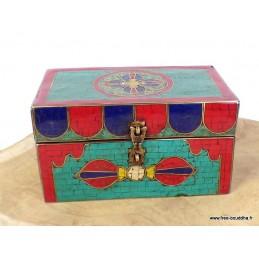 Boîte à bijoux en bois sertie de pierres BAT6.5