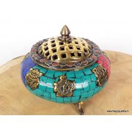 Porte-encens tibétain serti de pierres BETSP1