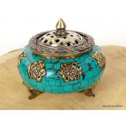 Porte-encens tibétain serti de Turquoise Brûleurs et porte-encens BETSP2