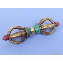 Dorjé tibétain 8 branches laiton et pierres 10,5 cm DPA2