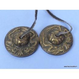 Tingshas tibétaines Dragons 6 cm TT580