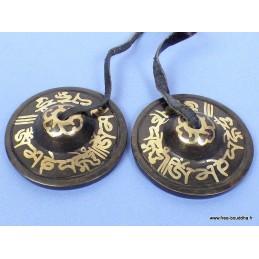 Tingshas tibétaines cymbales en bronze 6,5 cm TTD2.1
