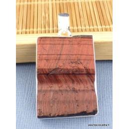 Pendentif en Oeil de Tigre rouge brut rectangulaire Pendentifs pierres naturelles XV15