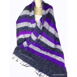 Châle népalais à rayures violet noir CPLY78