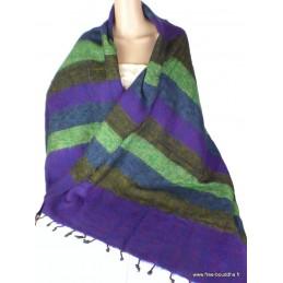 Châle népalais laine de yak violet vert Nos Châles CPLY81