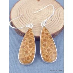 Boucles d'oreilles pendantes Corail indonésien forme goutte Boucles d'oreilles en pierres XV27