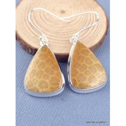 Boucles d'oreilles pendantes Corail indonésien Boucles d'oreilles en pierres XV27.1