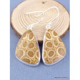 Boucles d'oreilles pendantes Corail indonésien asymétriques Boucles d'oreilles en pierres XV27.2