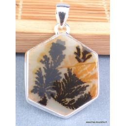 Pendentif Agate Scenique dendritique hexagonale Pendentifs pierres naturelles XV29