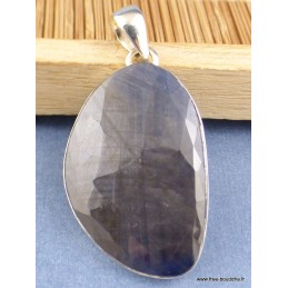 Grand Pendentif Saphir noir africain facetté Pendentifs pierres naturelles XV34