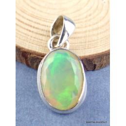 Pendentif Opale Ethiopienne facettée verte mauve Pendentifs pierres naturelles xv38