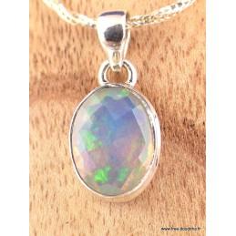 Pendentif Opale Ethiopienne facettée bleue verte Pendentifs pierres naturelles XV38.1