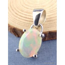 Pendentif Opale Ethiopienne verte rose facettée Pendentifs pierres naturelles XV38.2
