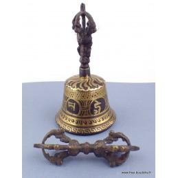 Cloche et dorjé tibétain 12,5 cm CD125