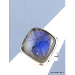 Bague Labradorite bleue carrée T 61 Bagues pierres naturelles XV54.1