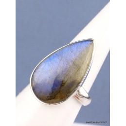 Bague Labradorite bleue goutte T 59 Bagues pierres naturelles XV54.5