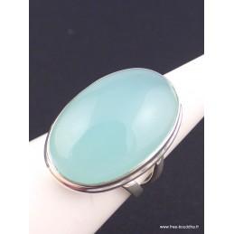 Bague Calcédoine bleue deux anneaux taille 54 Bagues pierres naturelles XV56.2