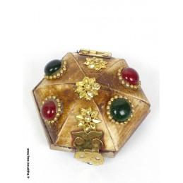 Boîte à bijoux tibétaine en Os de Yak petit modèle BAT82
