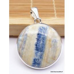Pendentif rond en Scheelite bleue et jaune Pendentifs pierres naturelles PAC5.2