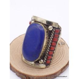 Grosse bague Tibétaine traditionnelle Imitation Lapis Lazuli Bijoux tibetains bouddhistes  GBT4