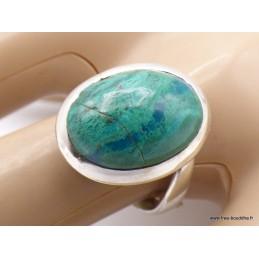 Bague Chrysocolle du Pérou ovale Taille 59 Bagues pierres naturelles XV69.2
