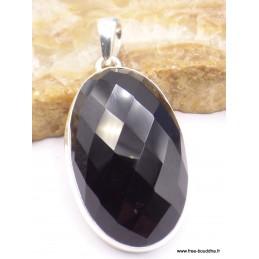 Pendentif oval en Onyx noir facetté Pendentifs pierres naturelles PAC3.2