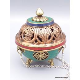 Encensoir Tibétain porte-encens boule serti de pierres Brûleurs et porte-encens PETB1