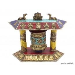 Moulin à prières tibétain Temple de table cuivre et pierres 6047