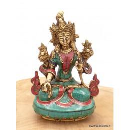 Statue Tara Blanche en laiton et pierres naturelles 15 cm Objets rituels bouddhistes 6048