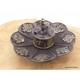 Brûleur d'encens tibétain Lotus en métal vieilli BETLOT1