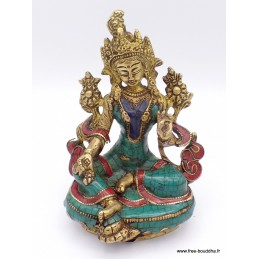 Statue Tara Verte en laiton et pierres naturelles 14 cm Objets rituels bouddhistes 6048.1