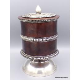 Exceptionnel gros Moulin à prières bouddhiste Mandala 23 cm Objets rituels bouddhistes GMAP5