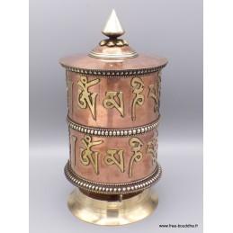 Exceptionnel gros Moulin à prières bouddhiste Mantra 26 cm GMAP6