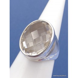 Bague Cristal de Roche facettée diamant Taille 55 Bijoux en Cristal de roche XV81