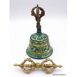 Cloche et dorjé tibétain 15 cm Vert ETCH2