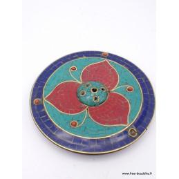 Porte-encens artisanat tibétain serti de pierres PET25