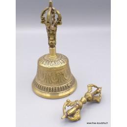 Cloche et dorjé bouddhiste en laiton 14 cm CLODL2