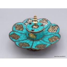 Porte encens tibétain cuivre et turquoise Brûleurs et porte-encens PETU1