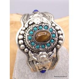 Bracelet tibétain Oeil de Tigre et turquoises Bracelets pierres naturelles BRLOT