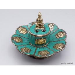 Porte encens tibétain cuivre et turquoise Bouddha Brûleurs et porte-encens PETU2